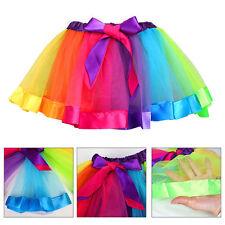 Girls Kids Tutu Skirt Tulle Dance Ballet Dress Toddler Rainbow Bow Costume Dress