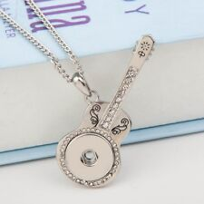 Hot Crystal Guitar Pendant Drill Snap Fit Noosa Necklace Chunk Charm Button