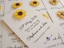 Set of 10 Personalised Handmade Sunflower Wedding Save the Date Cards