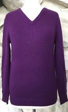 J Crew Women's Purple 100% Italian Cashmere Long Sleeve V-neck Sweater XS