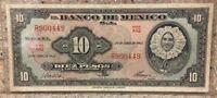 1963 Banco de Mexico 10 Peso Circulated & BCW Currency Sleeve Series AIQ9