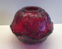Vintage Indiana Glass Pebble Leaf Fairy Lamp Mid Century Amber (Three Piece Set)