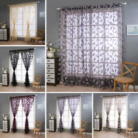 1/2 Panel Leaf Sheer Voile Window Curtain Slop Top Tulle Drape Room Door Divider