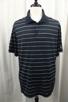Nike Golf Mens Polo Shirt Size XL X-Large Blue Striped Short Sleeve S/S Dri-Fit