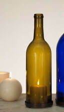 Primitive antiqued green wine bottle chimney w/ base ring/ candle cover /NICE