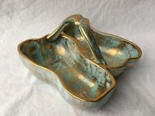 Stangl #3782 Antique Gold Aqua Candy Dish 22 Kt. Gold Art Pottery