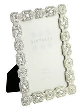 Ornate Vintage Antique Silver & Crystal 6x4 inch Photo frame Sarah by Sixtrees