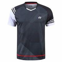 men's badminton Tops Table tennis clothes outdoor sports T-shirt Black