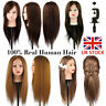 UK 100% Real Human Hair Salon Hairdressing Training Head Mannequin Doll + Clamp