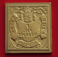 Modern Gold plated 7g Silver Stamp Ingot Germany Oldenburg 1/30 Thaler 1852