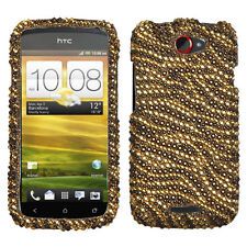 T-MOBILE HTC ONE S RHINESTONE HARD SNAP ON CASE TIGER SKIN (CAMEL/BROWN)