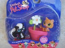 Littlest Pet Shop Super Rare! SKUNK lot #85 KITTEN #86 w/Flower Pot Retired NIB