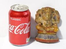 Antique 19thC Handpainted & Carved Marble Hindu Ganesh Ganesha Chaturthi
