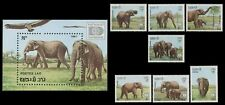 LAOS N°791/797** & Bloc 96** ELEPHANTS 1987 HAFNIA 87 complete set & Sheet MNH