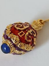 Initial Letter H Faberge inspired Red Purple Blue Egg Pendant Bracelet Charm NEW