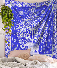 Indian New Elephant Tree Mandala Cotton Wall Hanging Queen Size Hippie Tapestry