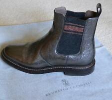 Brunello Cucinelli Graphite Silver Broken Glass Leather Chelsea Boots Size 37