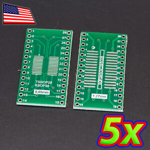 [5x] Double Sided SOP28 TSSOP28 to DIP28 adapter Breakout PCB Converter