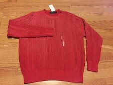 Polo Ralph Lauren Aran cable hand knit coral red sun faded vintage sweater XXL