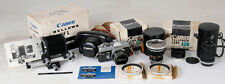 CANON FT SLR FILM CAMERA, ULTRA WIDE ANGLE LENS, TELEPHOTO LENS, FL BELLOWS PACK