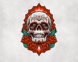 2 x Day Of The Dead Rose Skull Sticker Car Bike Seal Laptop Indoor Decals