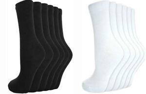 Daily Use Men's Women Ladies Girls Ankle Socks Cotton Plain BLACK-WHITE Socks12