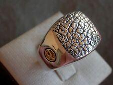 David Yurman Sterling Silver 18K Gold Men's Rugged Rhino Skin Ring Sz 10