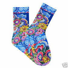 Laurel Burch K.Bell Bright Cat With Flowers Crew Women' Polyester Blend Sock New