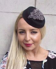 Black Gunmetal Charcoal Silver Pillbox Hat Hair Fascinator Races Cocktail 3091