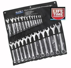 25pc Set of Metric Combination Spanner Set 6-32mm Open Ring Ended in Roll spaner