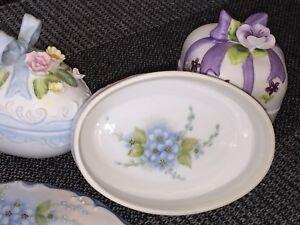 Vintage Porcelain Trinket Boxes: Painted Lefton, Bisque Floral Egg, & Oval Style