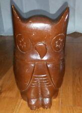 Wood carved owl sculpture figurine rustic decor bird collectible