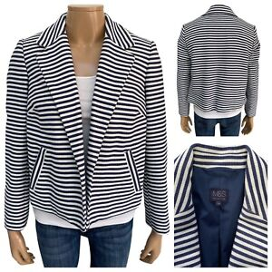 M&S COLLECTION Ivory Navy Stripe Open Front Short Nautical Blazer Size 14 UK