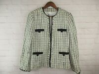 Tahari women's size 8 White and Black Tweed Zip Up Blazer Jacket