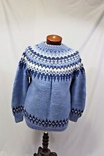 Vtg Handknit Nordic Fair Isle Heavy Wool Sweater Sz M-L