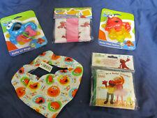 New Sesame Street Baby Girl Care Lot Bib Book Washcloths Rattle Teether Elmo