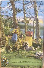 Montana Postcard BLACKFEET INDIANS Siksika New WAR BONNET Man Women Lake Linen