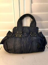 Agnes b. Voyage Japan Dark Blue Denim Handbag with Black Leather Trim