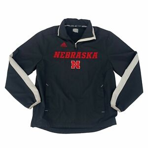 Nebraska Cornhuskers Adidas Jacket Mens Size S Black Mesh Lined 1/4 Zip Pullover