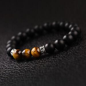 Hot Men's Fashion Black Onyx Stone Tiger Eye Sanskrit Beads Cuff Charm Bracelets