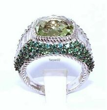 Judith Ripka Green MINT Quartz Diamonique Pave Silver Ring Size- 6 QVC