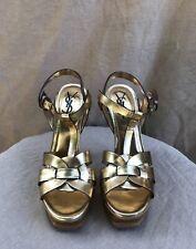 YSL VTG Gold VE Tribute Platform Leather Ankle Strap Stiletto Heel Sandal 37/7