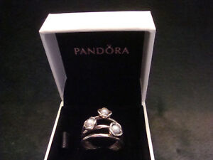 Pandora Silver Three Wishes Grey Pearl 925 Ring Size 6 NEW WITH BOX!!!