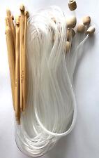 "47"" Set of 12 Bamboo Afghan Tunisian Crochet Hook Needles C-N (3-10mm) hooks NEW"