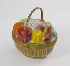 Beautiful Hand Painted Limoges Fruit Basket Hinged Trinket Box Turtle Latch