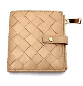 Bottega Veneta Small Bi-fold wallet in Almond Beige woven leather Nwt