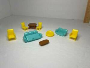 Vintage Tiny Miniature Dollhouse Furniture Beanbag Chair Table Fold-out Couch