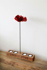 Solid Oak Poppy Stand Holder with 4 Tea Lights - Carved Text Can Be Personalised