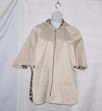 Joan Rivers Reversible Hooded Trench Coat Size 8 Khaki/Animal Print