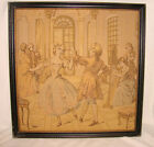 """Antique French Framed Tapestry 19""""x19"""" Ballroom Ball Dancing Couple Padded"""